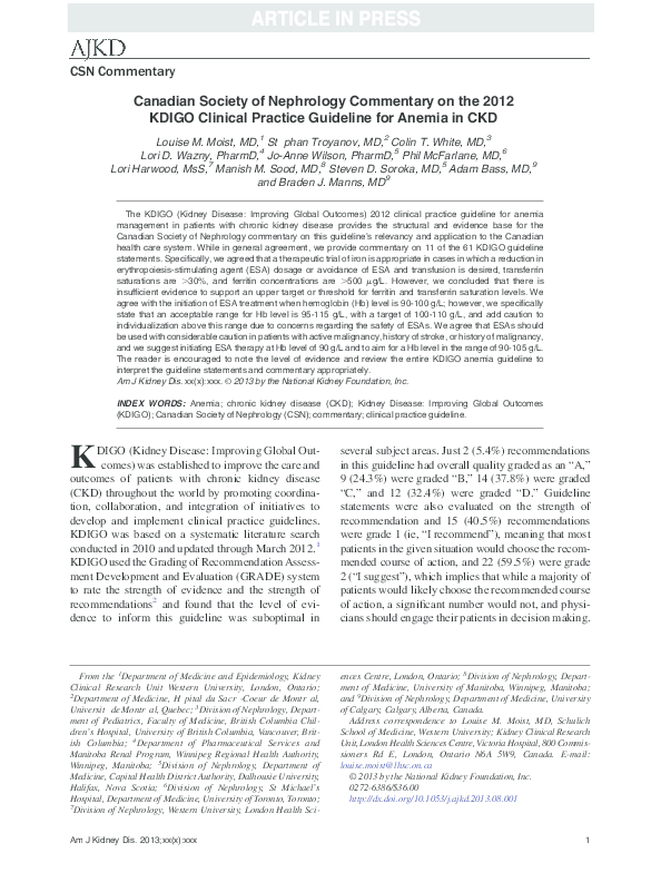 PDF) Canadian Society of Nephrology Commentary on the 2012