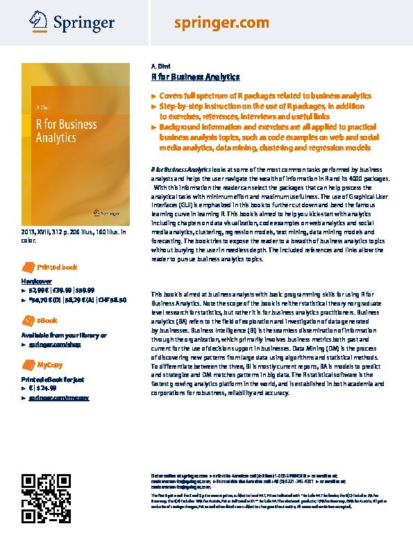 PDF) R for Business Analytics | Ajay Ohri - Academia edu