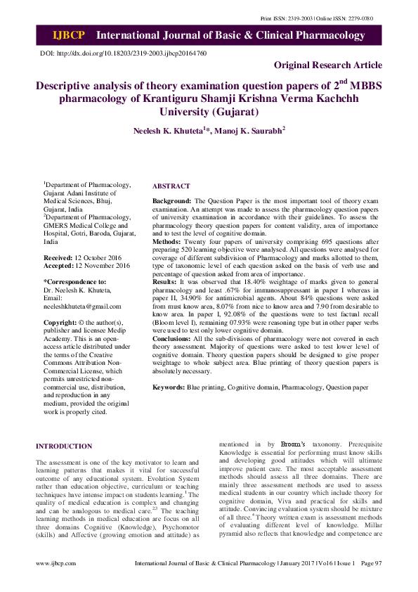 PDF) Descriptive analysis of theory examination question