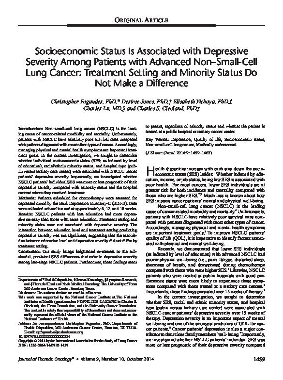 PDF) Socioeconomic status is associated with depressive