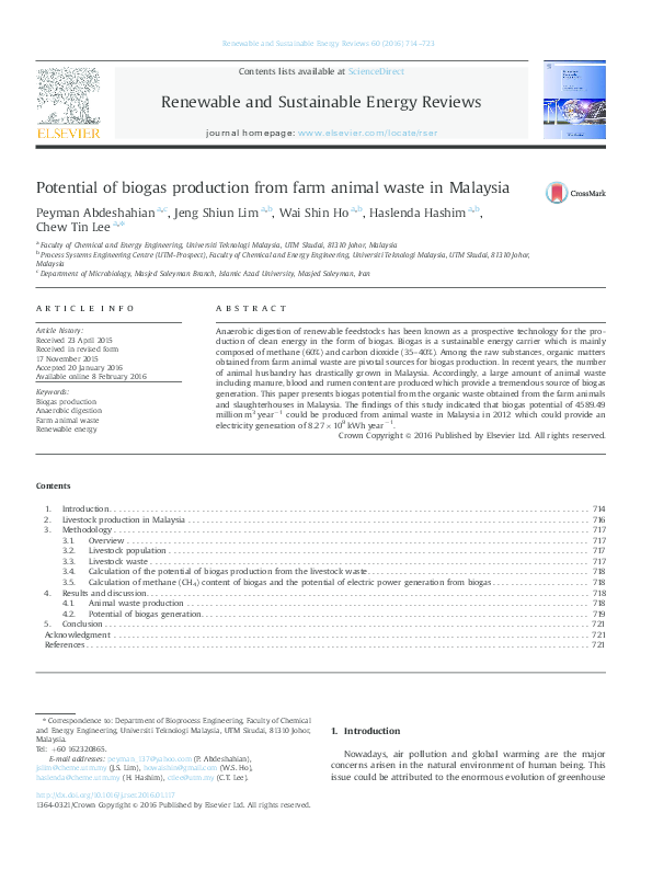 PDF) Potential of biogas production from farm animal waste
