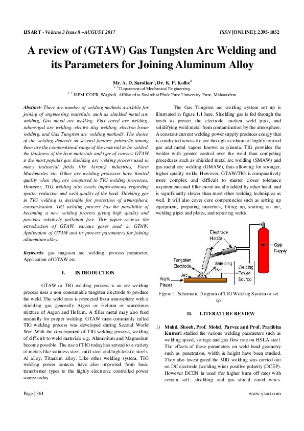 Pdf A Review Of Gtaw Gas Tungsten Arc Welding And Its Parameters For Joining Aluminum Alloy Ijsart Journal Academia Edu