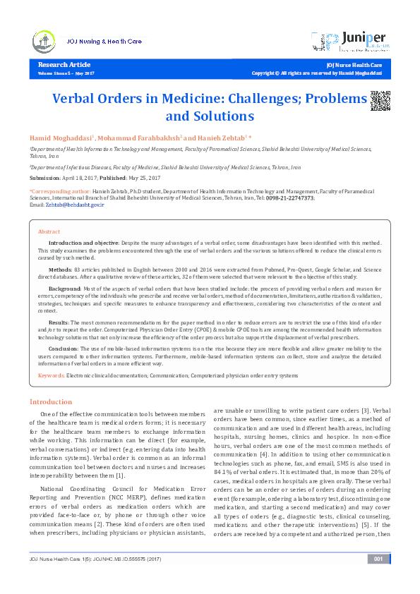 PDF) Verbal Orders in Medicine: Challenges