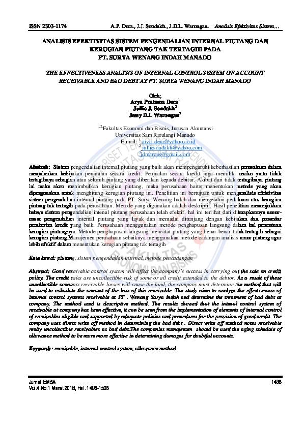 Pdf Analisis Efektivitas Sistem Pengendalian Internal Piutang Dan