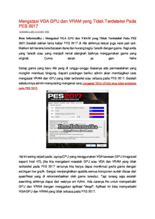 DOC) Mengatasi VGA GPU dan VRAM yang Tidak Terdeteksi Pada PES