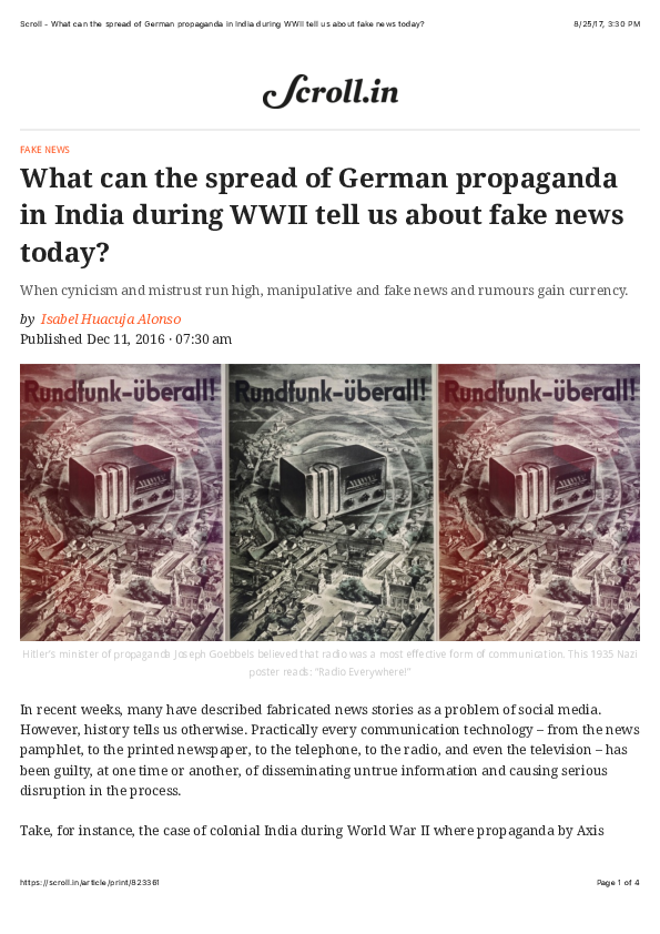 PDF) What can the spread of German propaganda in India during WWII