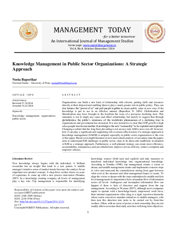 PDF) MANAGEMENT TODAY -for a better tomorrow An