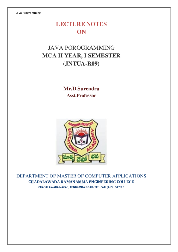 PDF) LECTURE NOTES ON JAVA POROGRAMMING MCA II YEAR, I