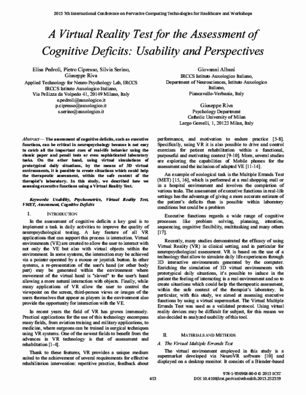 PDF) A Virtual Reality Test for the Assessment of Cognitive Deficits