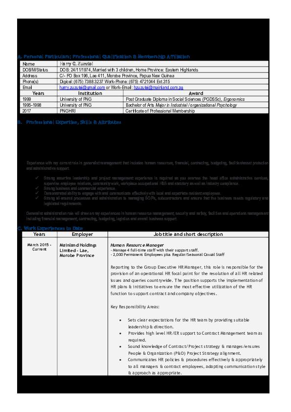 PDF) Confidential Bio-Data Curriculum Vitae   Harry Zuzutei