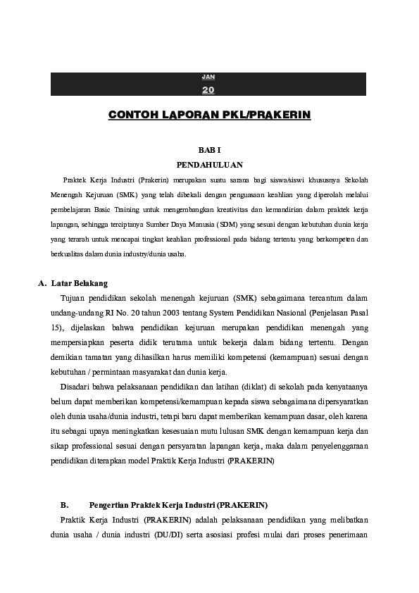 Doc Contoh Laporan Pkl Prakerin Hasni Hamid Academia Edu