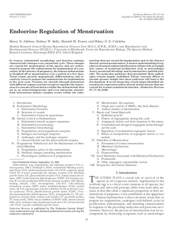 PDF) Paracrine regulation of menstruation 1 Paper presented