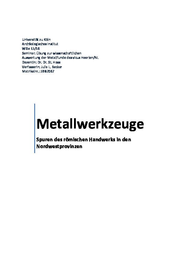 Datieren von Metallwerkzeugen