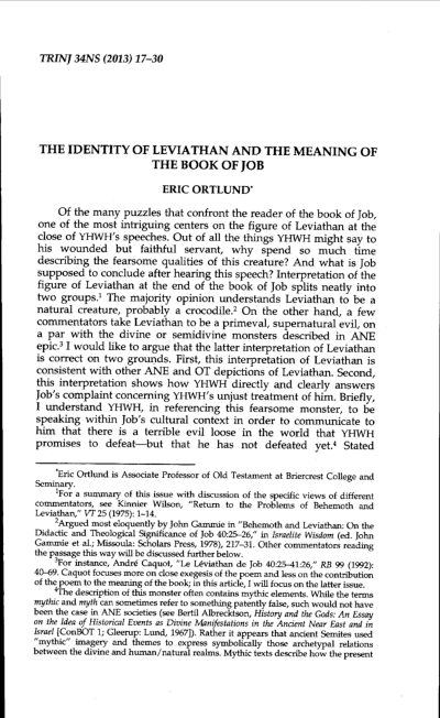 PDF) THE IDENTITY OF LEVIATHAN AND THE MEANING OF THE BOOK OF JOB