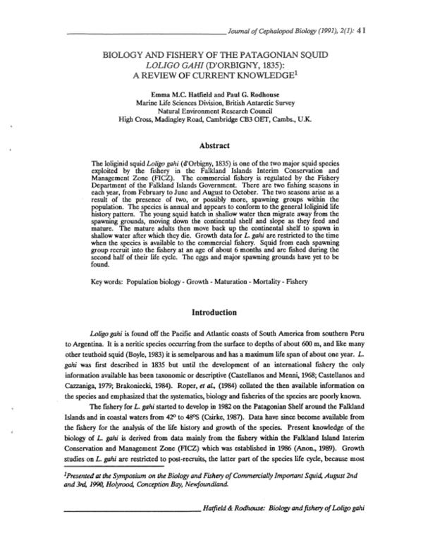 a9326ef34 PDF) Biology and fishery of the Patagonian squid Loligo gahi (d ...