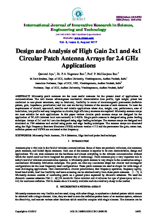 PDF) Design and Analysis of High Gain 2x1 and 4x1 Circular