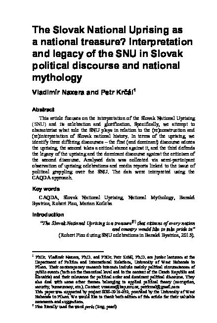 Pdf The Slovak National Uprising As A National Treasure Interpretation And Legacy Of The Snu In Slovak Political Discourse And National Mythology Vladimir Naxera And Petr Krcal Academia Edu