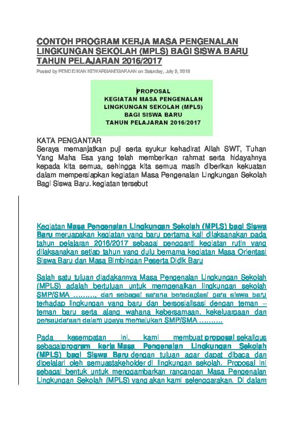 Doc Contoh Program Kerja Masa Pengenalan Lingkungan Sekolah Meilily Soumy Academia Edu