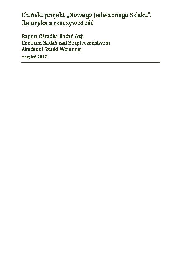 """0067d84cb064d PDF) Chiński projekt """"Nowego Jedwabnego Szlaku"""". Retoryka a ..."""