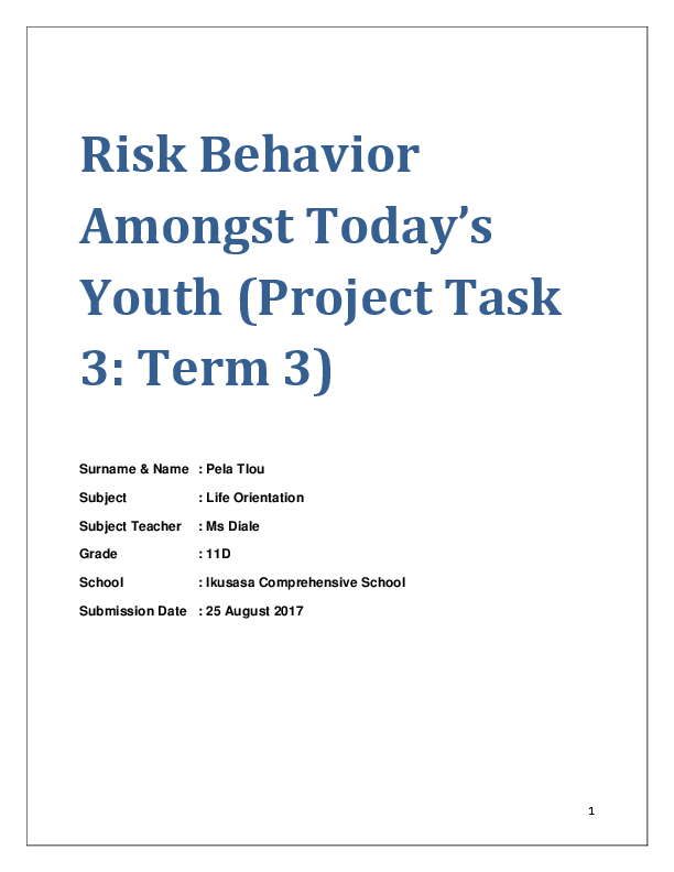 DOC) Risk Behavior Amongst Today's Youth (Project Task 3