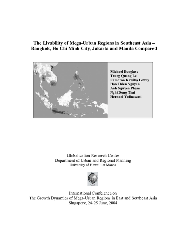 PDF) The Livability of Mega-Urban Regions in Southeast Asia