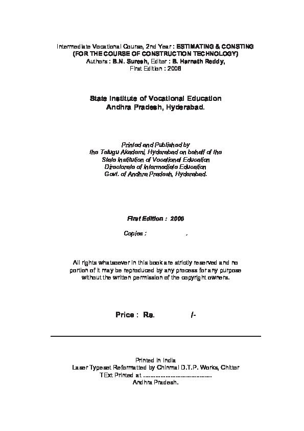 PDF) Estimating and Costing | satyajeet kumar jha - Academia edu