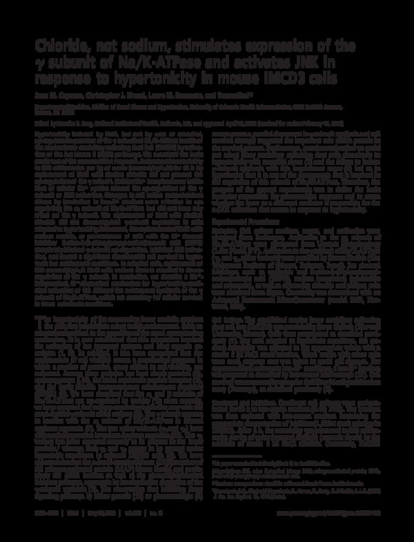 PDF) Chloride, not sodium, stimulates expression of the