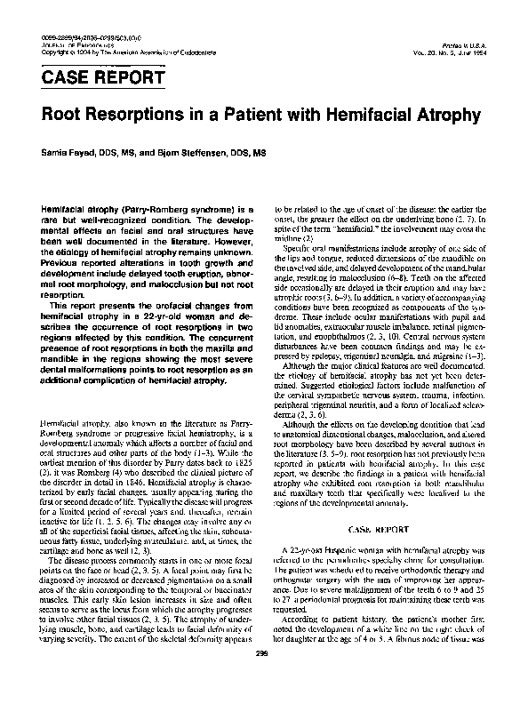 PDF) Root resorptions in a patient with hemifacial atrophy