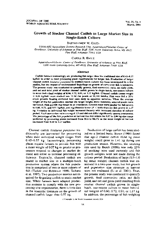 Growth Of Stocker Channel Catfish To Large Market Size In Single