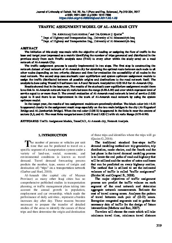 PDF) TRAFFIC ASSIGNMENT MODEL OF AL-AMARAH CITY | Abdulhaq