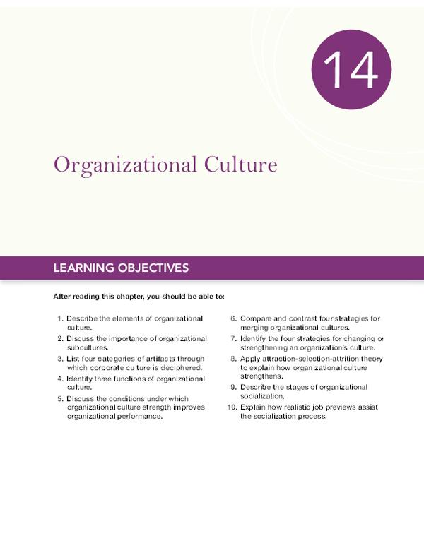 PDF) Organizational Culture LEARNING OBJECTIVES | Glory de