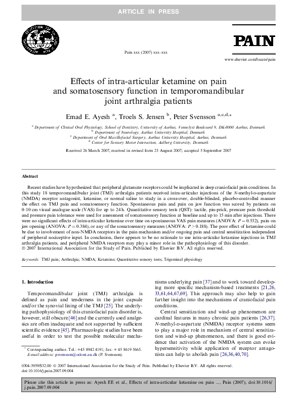 PDF Effects Of Intra Articular Ketamine On Pain And Somatosensory