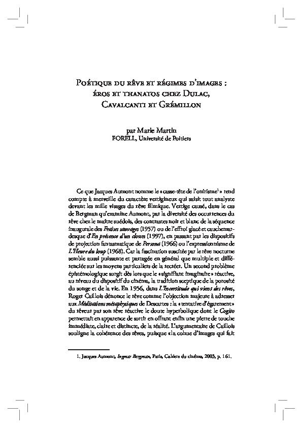 PDF) Poétique du rêve et régimes d'images : Eros et Thanatos
