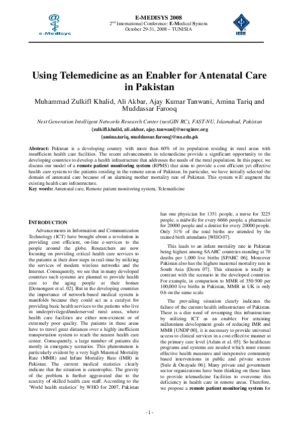 PDF) Using telemedicine as an enabler for antenatal care in