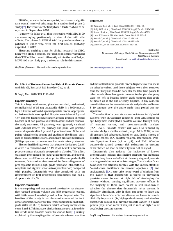 Pdf Re Effect Of Dutasteride On The Risk Of Prostate Cancer Prasanna Sooriakumaran Academia Edu
