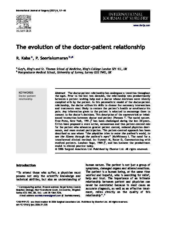 Doctor-Patient Relationship Essay - Words