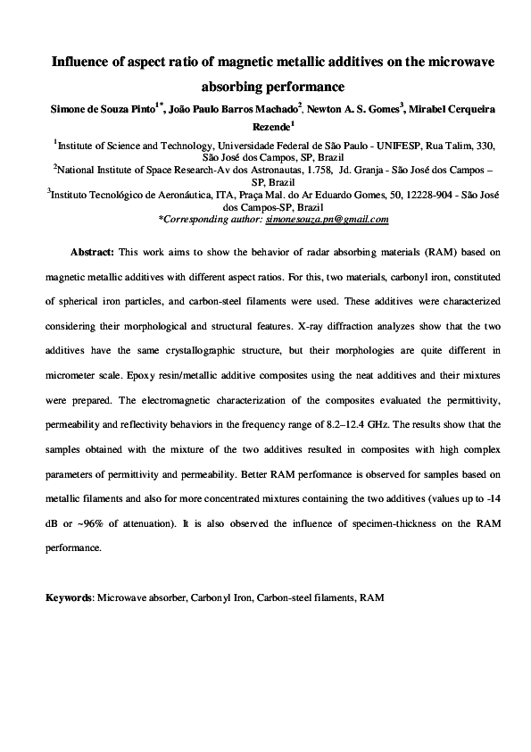 PDF) Influence of aspect ratio of magnetic metallic additives on the