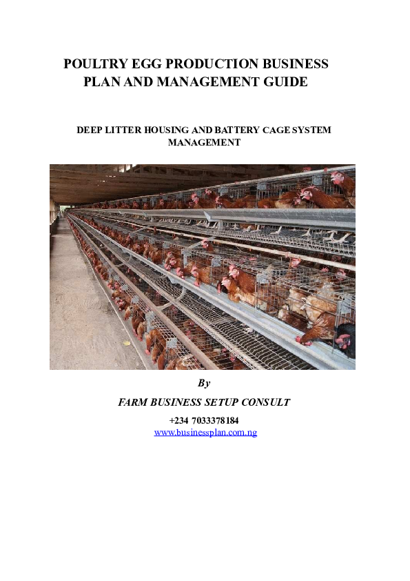DOC) POULTRY EGG PRODUCTION BUSINESS PLAN AND MANAGEMENT