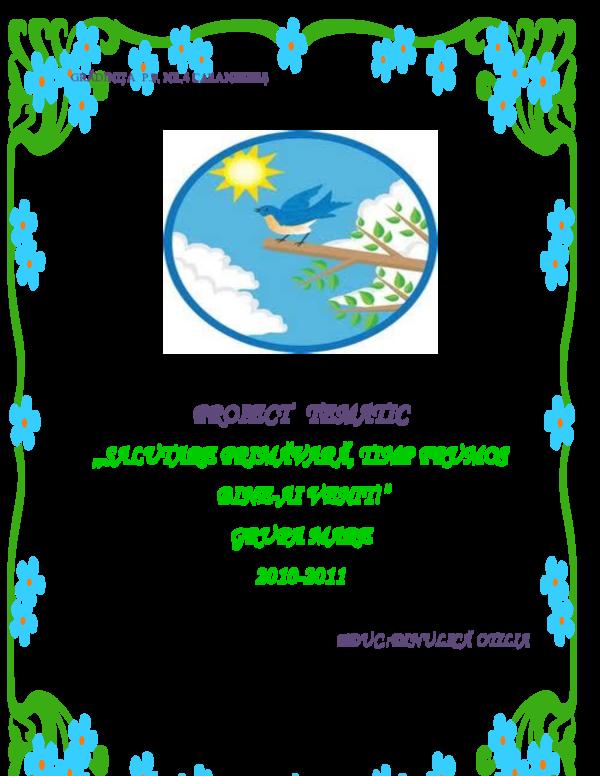 Doc Proiect Tematic Salutare Primăvară Timp Frumos Bine