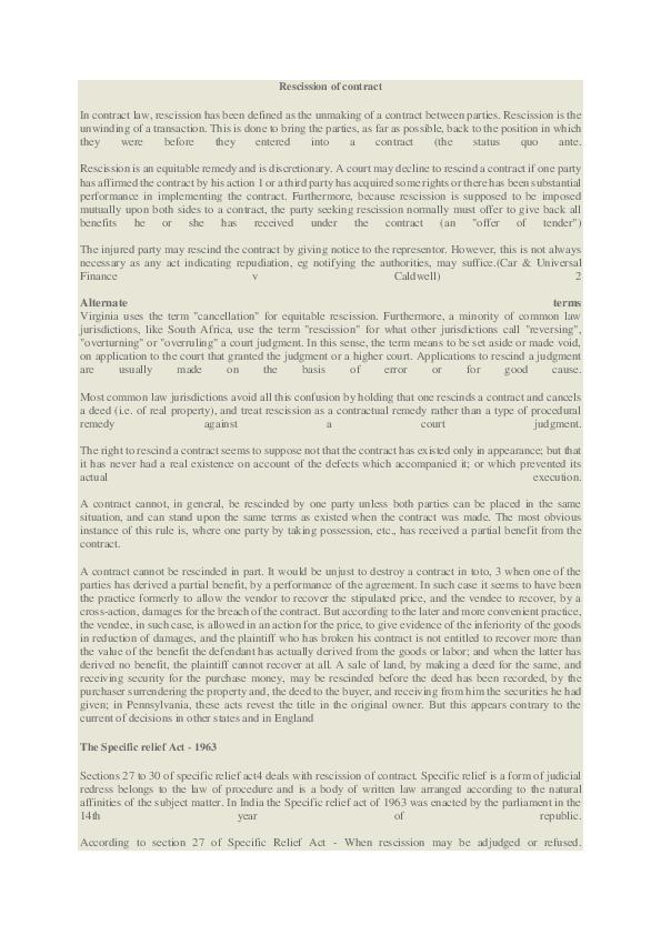 DOC) Rescission of contract   anant lakhotiya - Academia edu