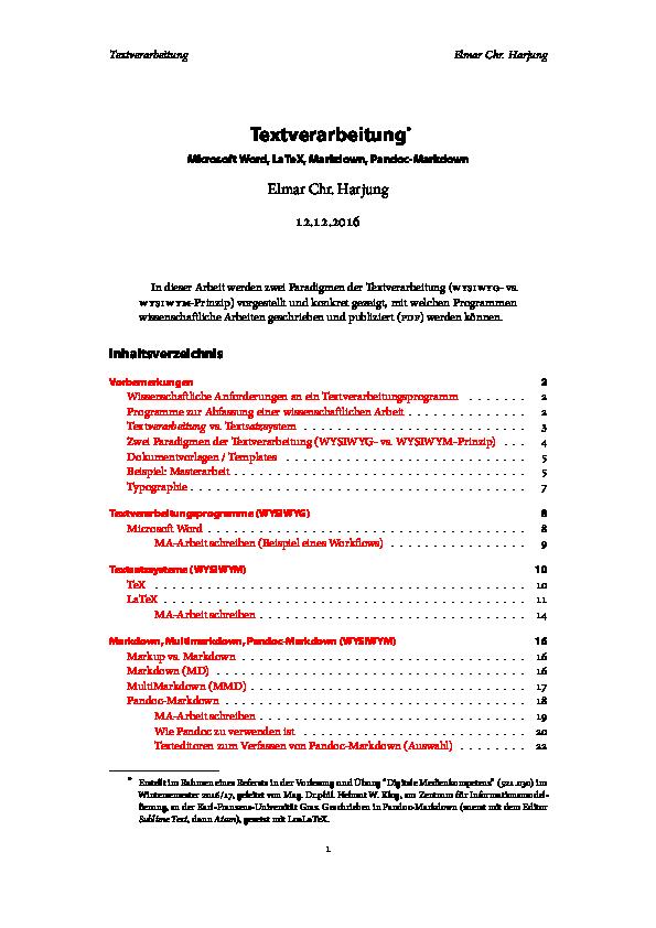 PDF) Wissenschaftliche Textverarbeitung mit Microsoft Word