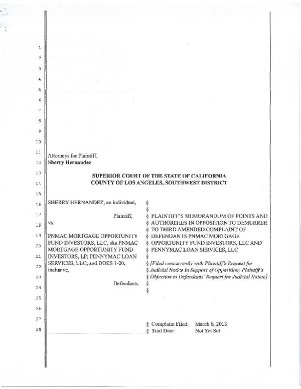 PDF) Plaintiff Opposition to PNMAC DEMURRER Redacted | Sherry