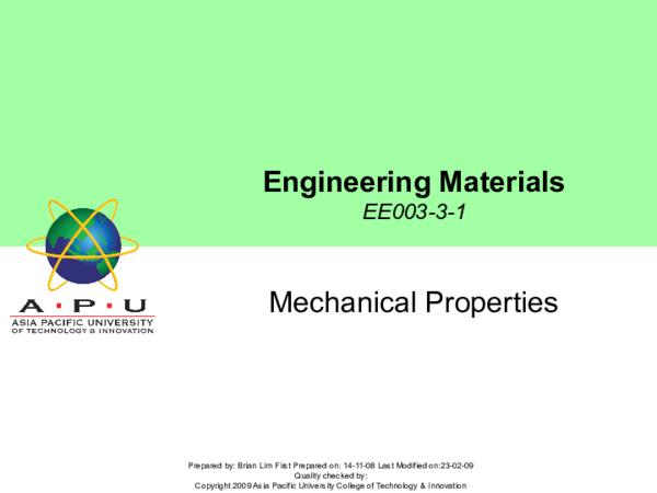 PPT) Lecture 3 - Mechanical Properties | muneeb siddiqui