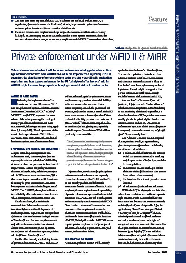 PDF) Private enforcement under MiFID II & MiFIR