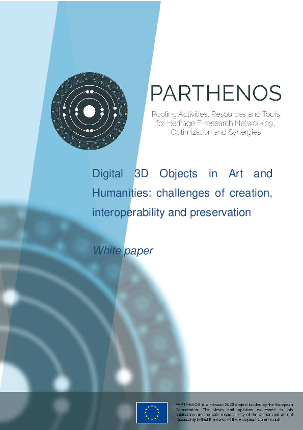 PDF) White paper -DIGITAL 3D OBJECTS in ART and HUMANITIES