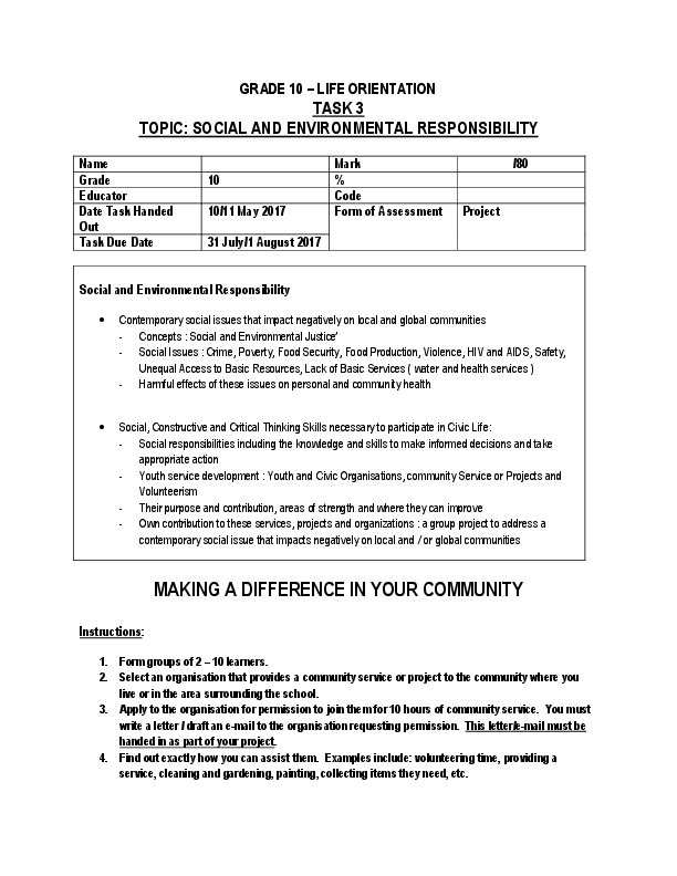 PDF) GRADE 10 – LIFE ORIENTATION TASK 3 TOPIC: SOCIAL AND