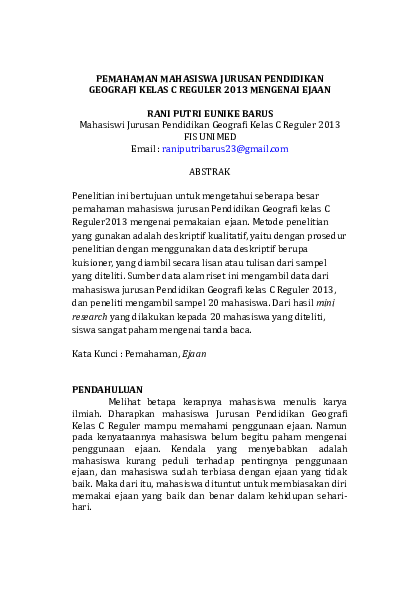 Doc Karya Ilmiah Bahasa Indonesia Tugas Kuliah Rani Barus Academia Edu