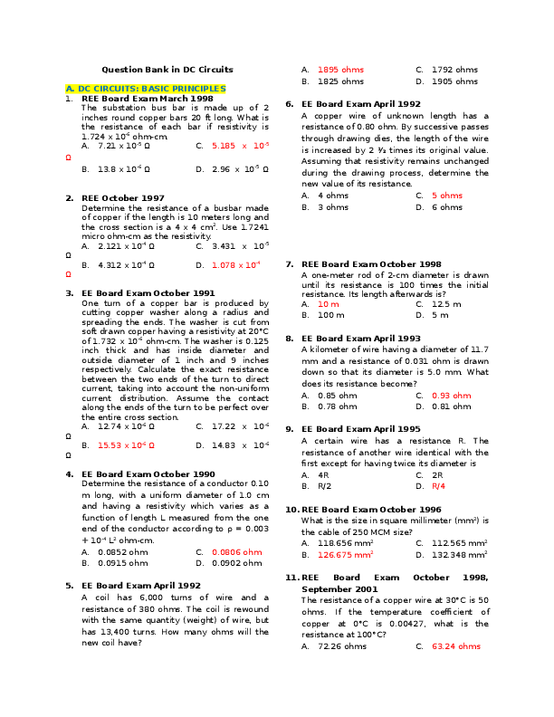 PDF) Question Bank in DC Circuits   shyne hikaru - Academia edu