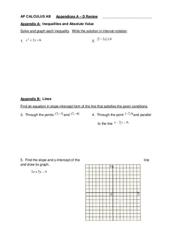 slope intercept form review pdf  AP CALCULUS AB Appendices A – D Review | Sean Xu - Academia.edu