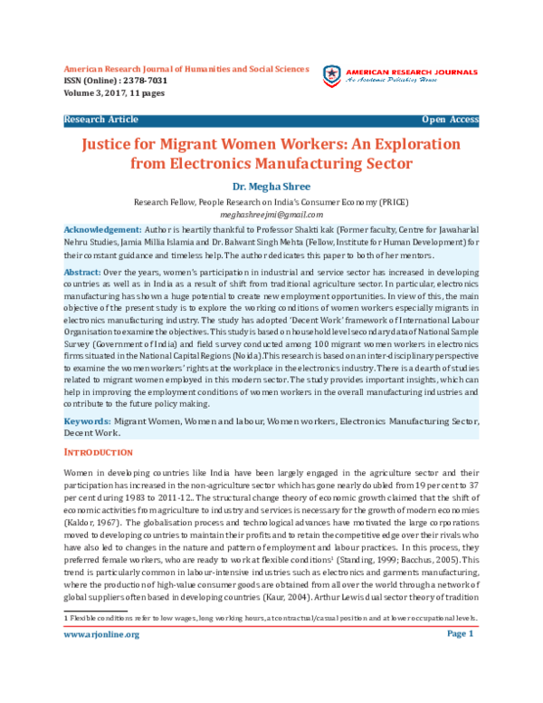PDF) Justice for Migrant Women Workers: An Exploration from